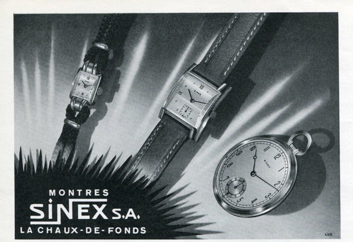Vintage 1947 Sinex Watch Company Montres Sinex SA Switzerland Swiss Advert Publicite Suisse