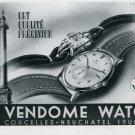 1947 Vendome Watch Company Corcelles-Neuchatel Switzerland Swiss Advert Suisse Publicite