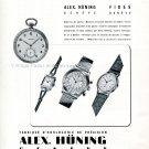 Vintage 1942 Alex Hüning Watch Company Geneve Swiss Advert Publicite Suisse Montres 1940s