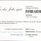 1945 Favre-Leuba CH Doxa Breitling 1940s Swiss Advert Publicite Suisse Montres Schweiz