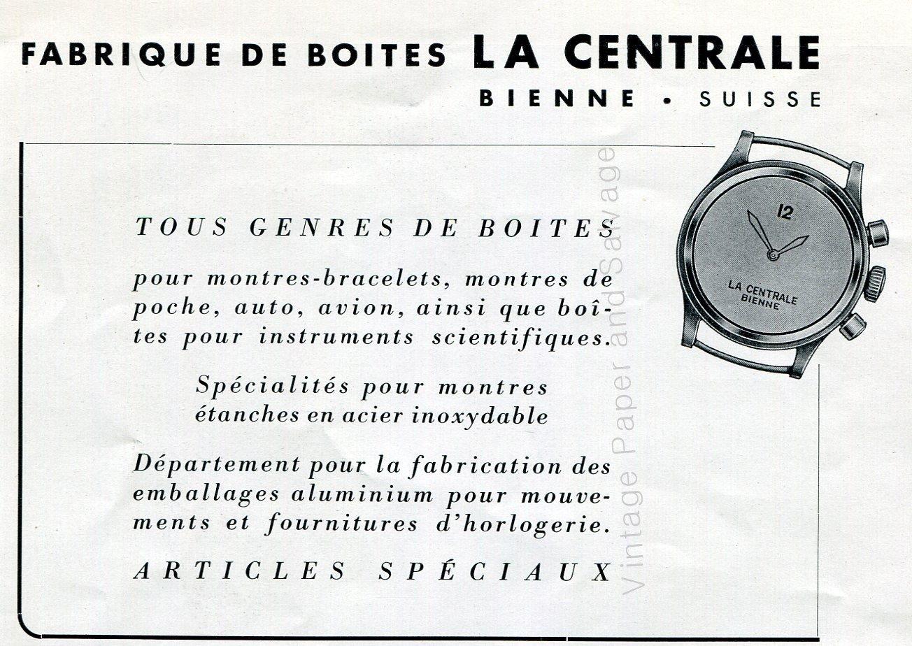 Vintage 1942 La Centrale Fabrique de Boites Switzerland Swiss Advert Publicite Suisse Horlogerie