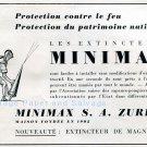 Vintage 1942 Mimimax SA Extincteur de Magnesium Swiss Advert Publicite Suisse CH Schweiz