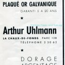Vintage 1942 Arthur Uhlmann CH Fabrication de Plaque Or Galvanique Swiss Advert Publicite Suisse