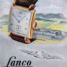 Vintage 1948 Lanco Langendorf Watch Co Switzerland Swiss Advert Publicite Suisse CH