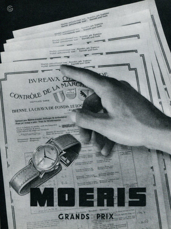 Vintage 1948 Moeris Watch Co Grands Prix Ad Swiss Advert Publicite Suisse CH