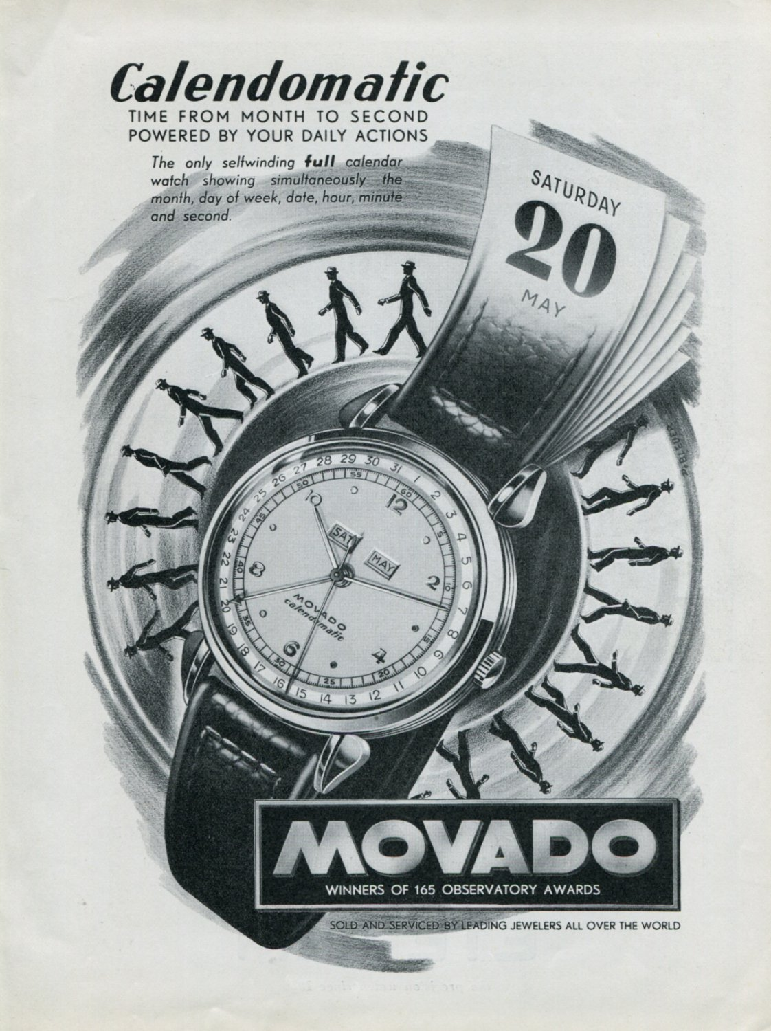 Vintage 1948 Movado Calendomatic Watch Advert Swiss Print Ad Publicite Suisse CH