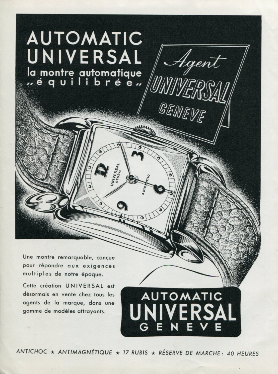 Vintage 1948 Universal Watch Co Universal Geneve Switzerland Swiss Advert Publicite Suisse