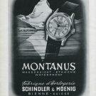 Vintage 1947 Montanus Watch Co Shindler & Moenig Switzerland Swiss Advert Publicite Suisse CH