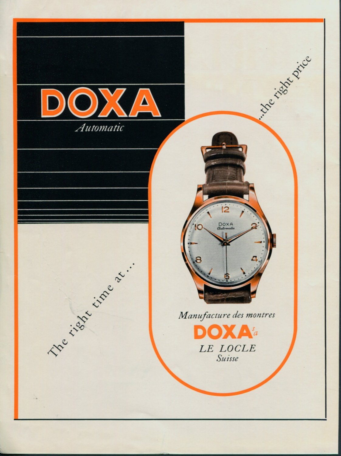 Vintage 1952 Doxa Watch Co Montres Doxa SA Le Locle Switzerland Swiss Advert Publicite Suisse CH