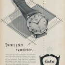 Vintage 1952 Eska Watch Company 20 Years Experience Swiss Advert Publicite Suisse CH