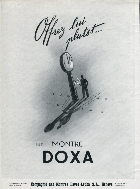 Vintage 1946 Doxa Watch Co Offrez lui Plutot Swiss Advert Publicite Suisse Montres CH Switzerland
