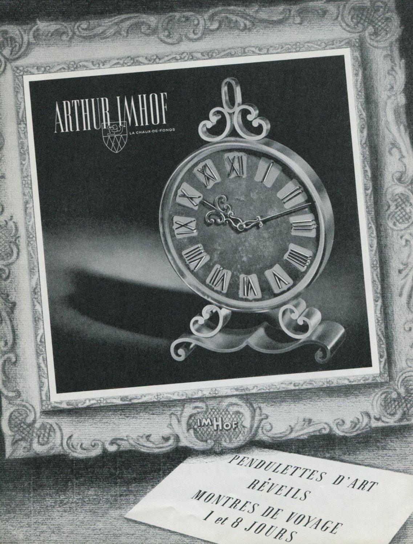 Vintage 1948 Imhof Clock Company Arthur Imhof Switzerland Swiss Advert Publicite Suisse CH
