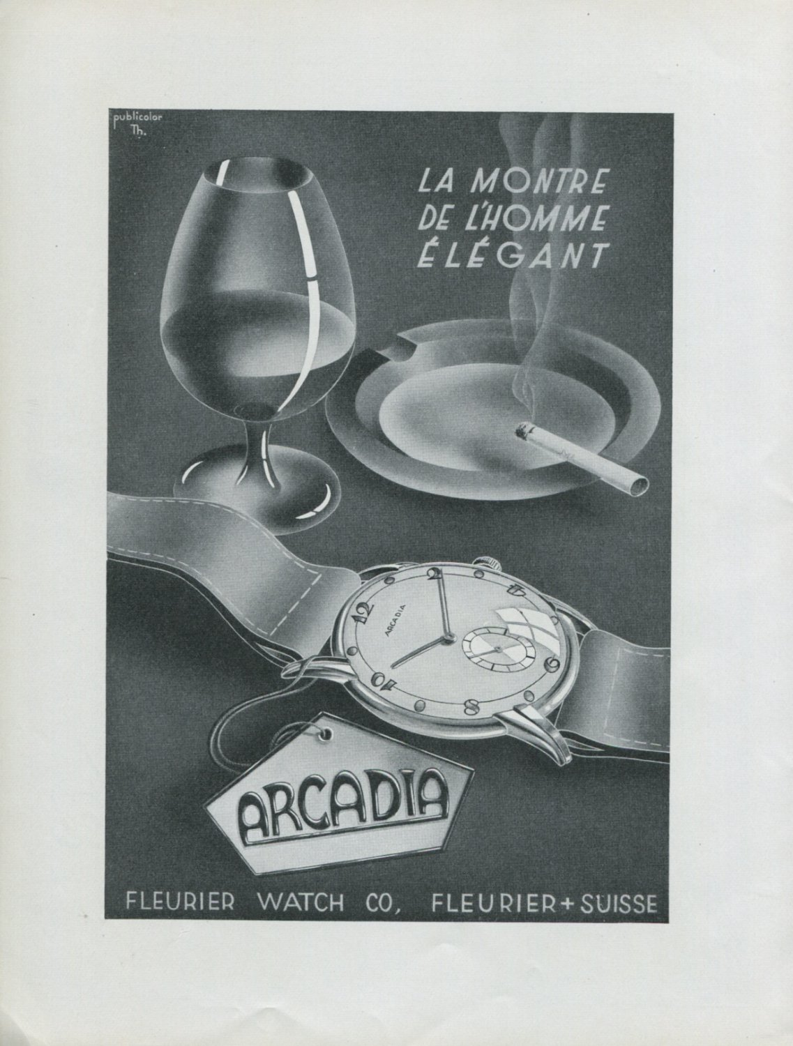 1948 Fleurier Watch Company Arcadia Watch Co Switzerland Swiss Advert Publicite Suisse Montres CH