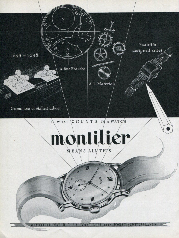 Vintage 1948 Montilier Watch Co Switzerland Swiss Advert Publicite Suisse Montres Montilier CH