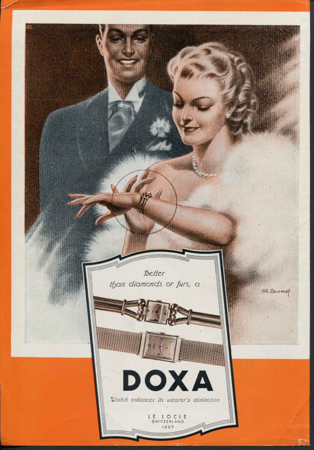 Vintage 1948 Doxa Watch Co Switzerland Swiss Advert Publicite Suisse Montres Doxa CH