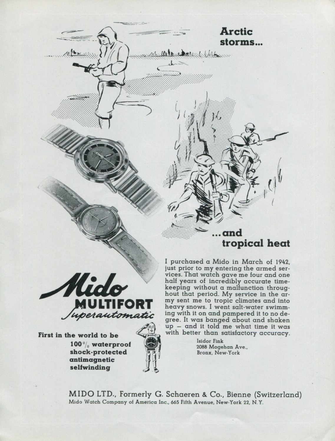 Vintage 1948 Mido Multifort Automatic Watch Advert Swiss Print Ad Publicite Suisse Montres Mido CH