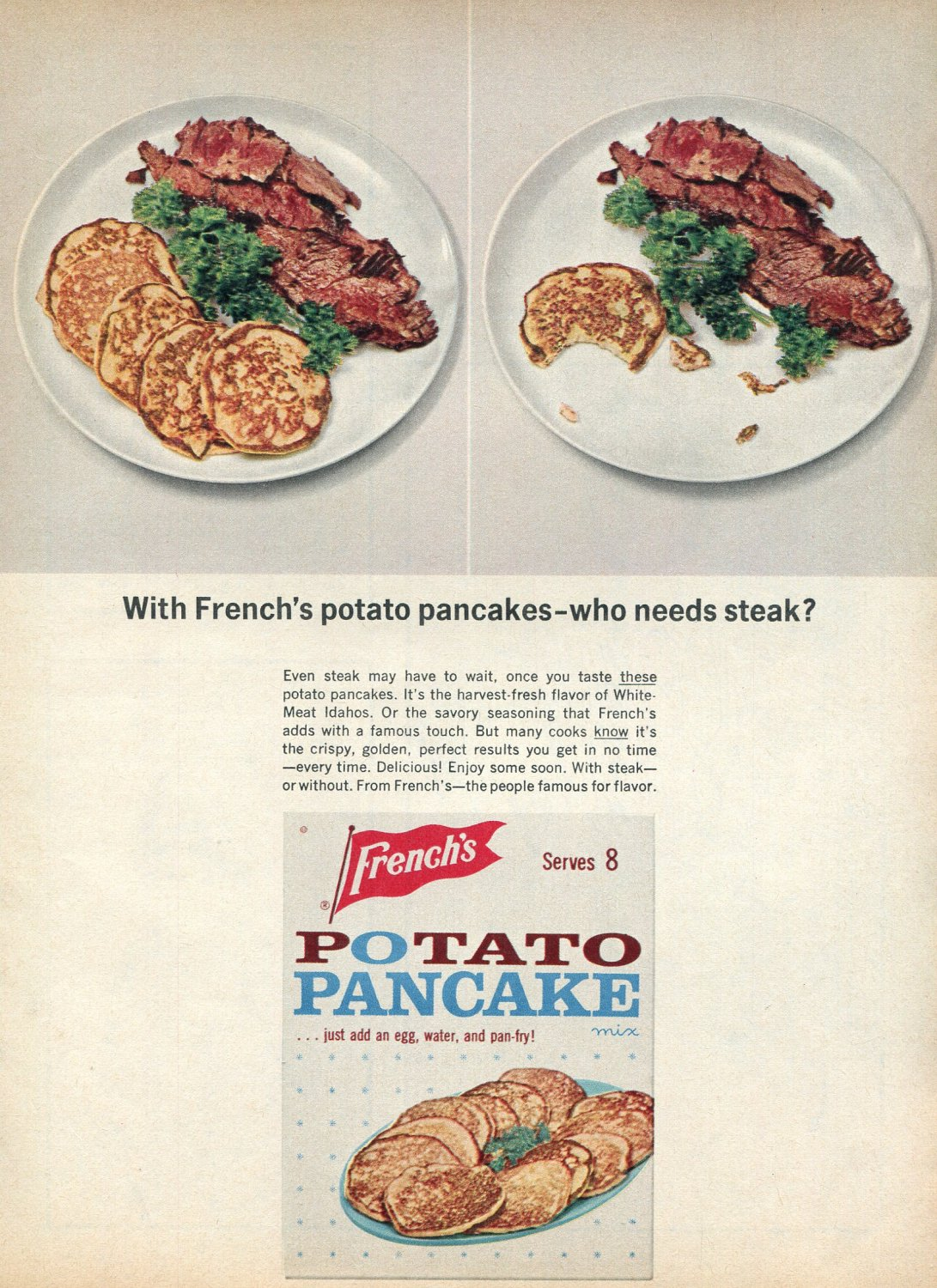 1964 French's Potato Pancake Mix Who Needs Steak Advert Frenchs Idaho Potatoes