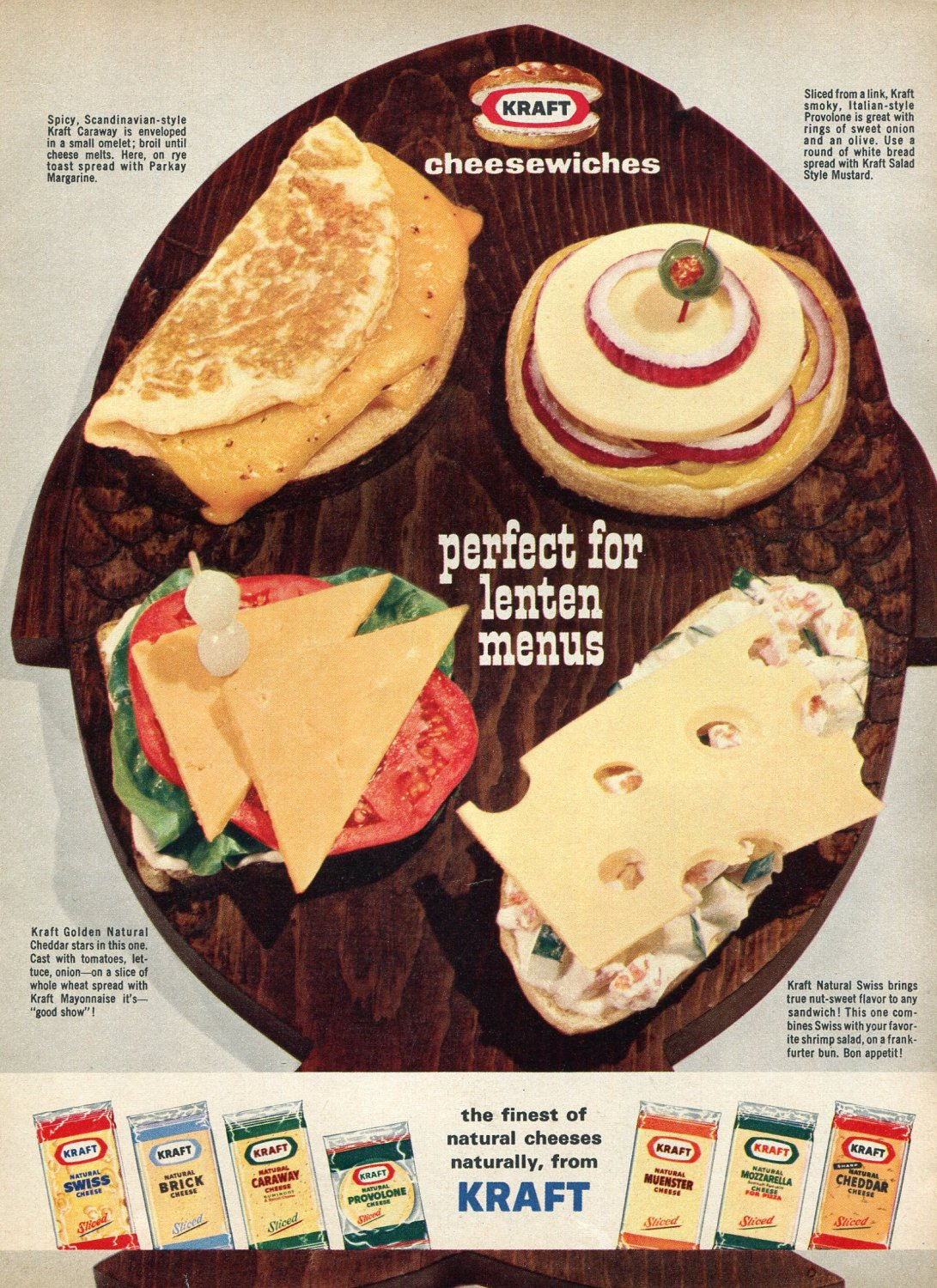 1964 Kraft Cheese Cheesewiches Perfect for Lenten Menus 1960s Ad Advert