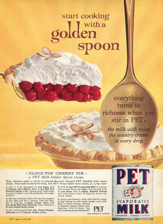 1964 PET Evaporated Milk Cloud Top Cherry Pie Golden Spoon Recipe 1960s Advert