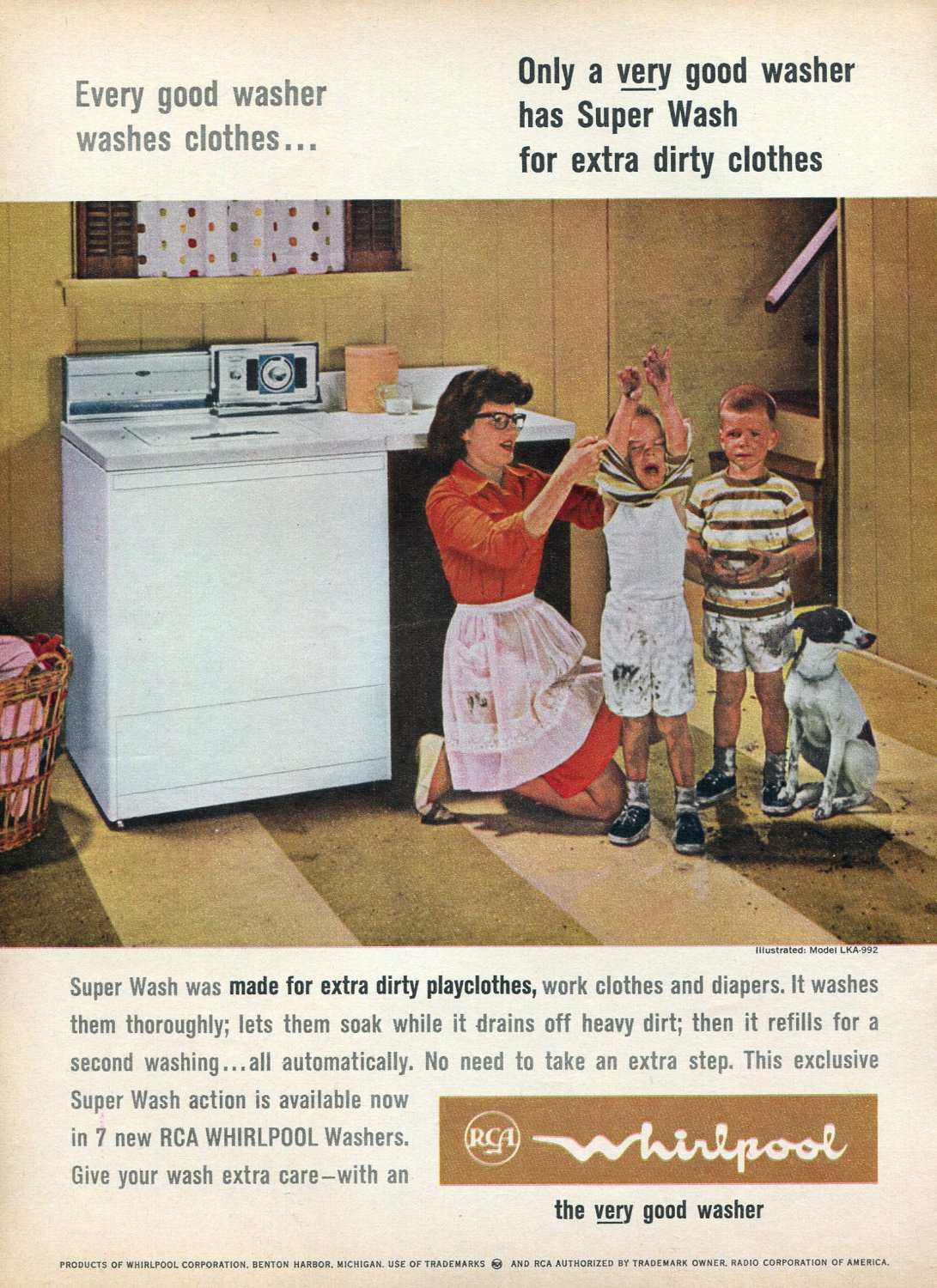 1964 RCA Whirlpool Washers with Super Wash for Extra Dirty Clothes Ad Advert