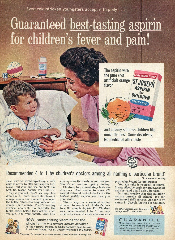 1964 St Joseph Aspirin Best Tasting for Children's Fever and Pain 1960s Advert