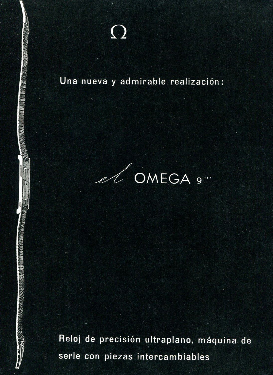 "1958 Omega CH 9'"" Watch Advert Omega Watch Company Switzerland 1950s Print Ad Spain Spanish"