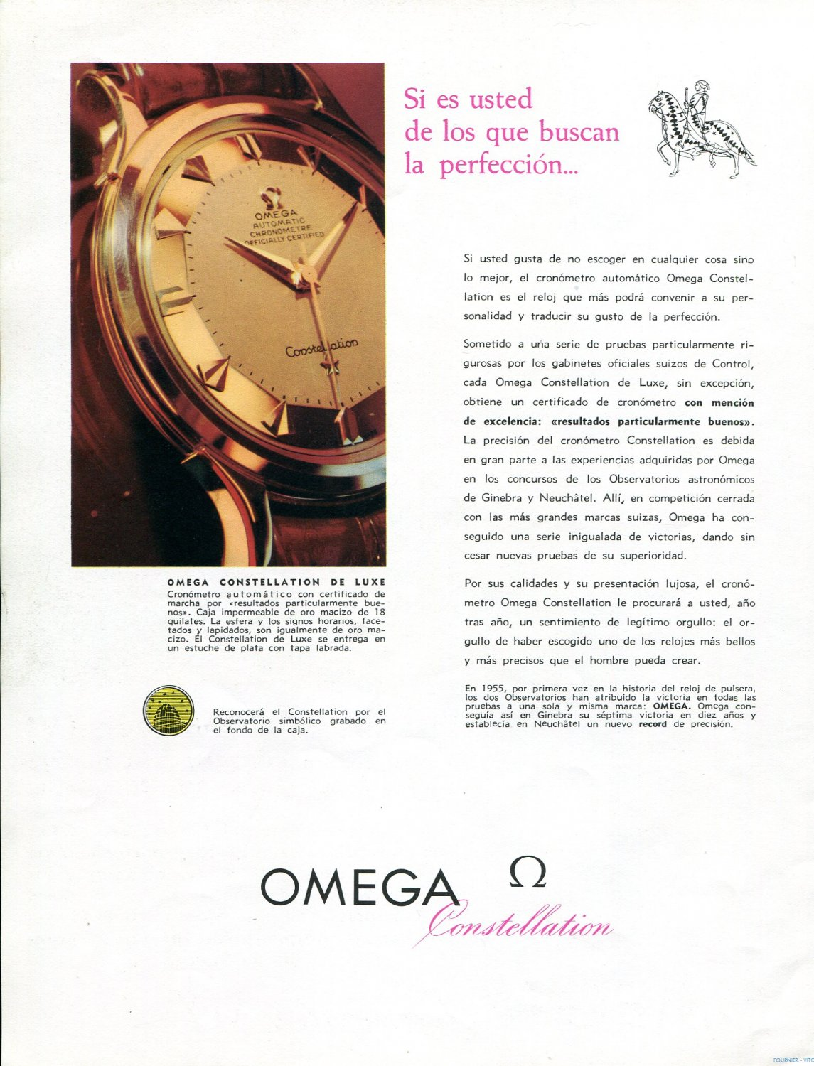1958 Omega Constellation de Luxe Watch Advert Omega CH Switzerland 1950s Print Ad Spanish