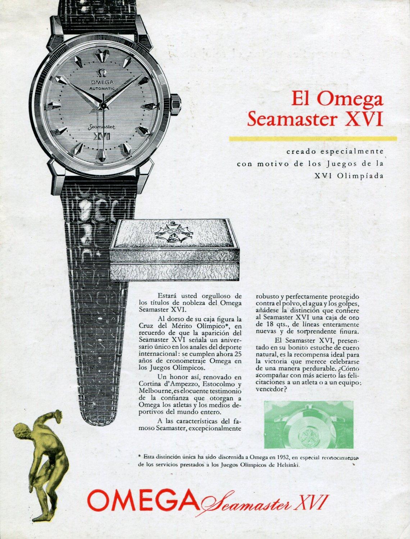1957 Omega Seamaster XVI Watch Advert Helsinki Olympics Vintage 1950s Ad Omega Watch Company