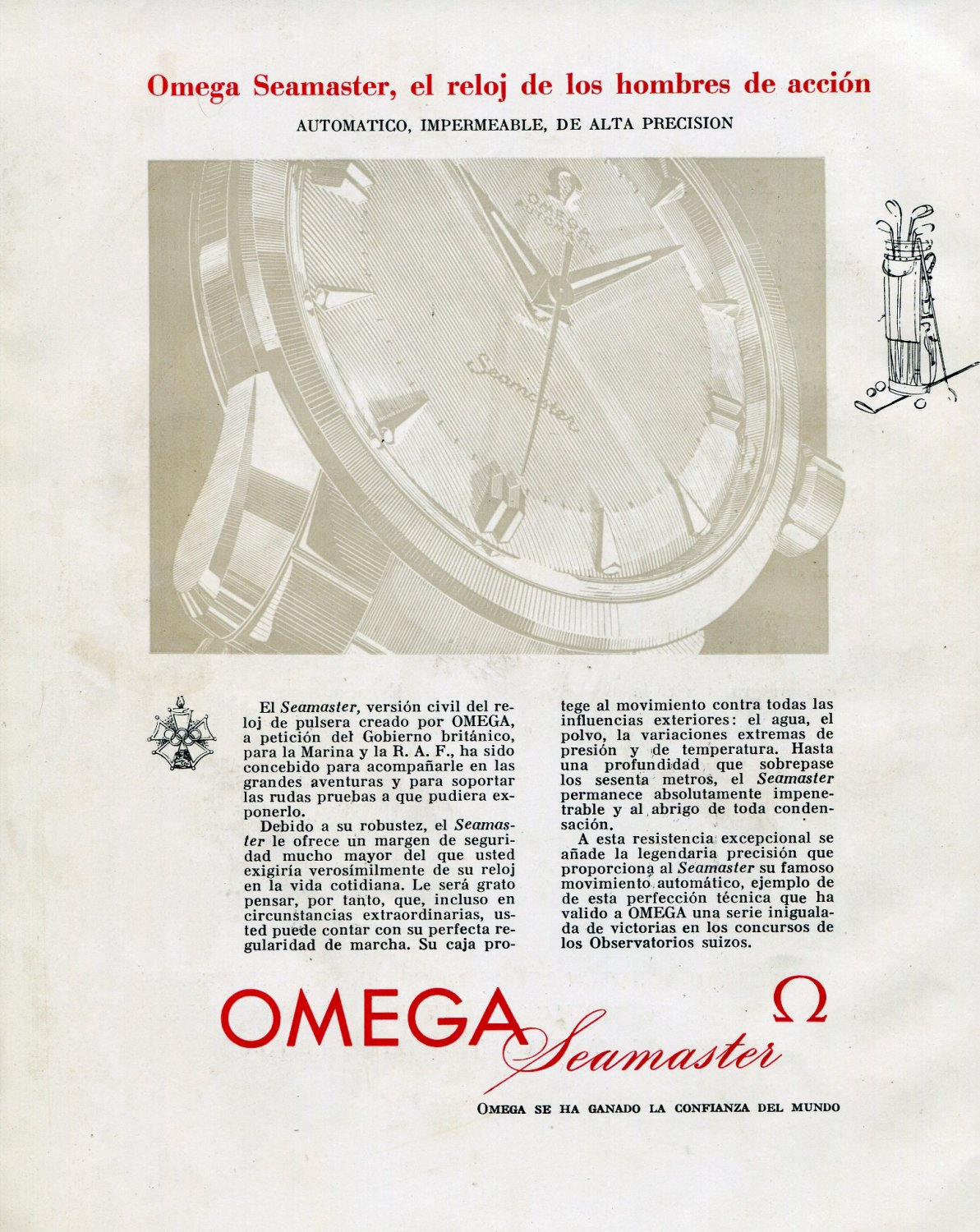 Vintage 1956 Omega Seamaster RAF Royal Air Force Watch Advert Omega Watch Company 1950s Spanish Ad