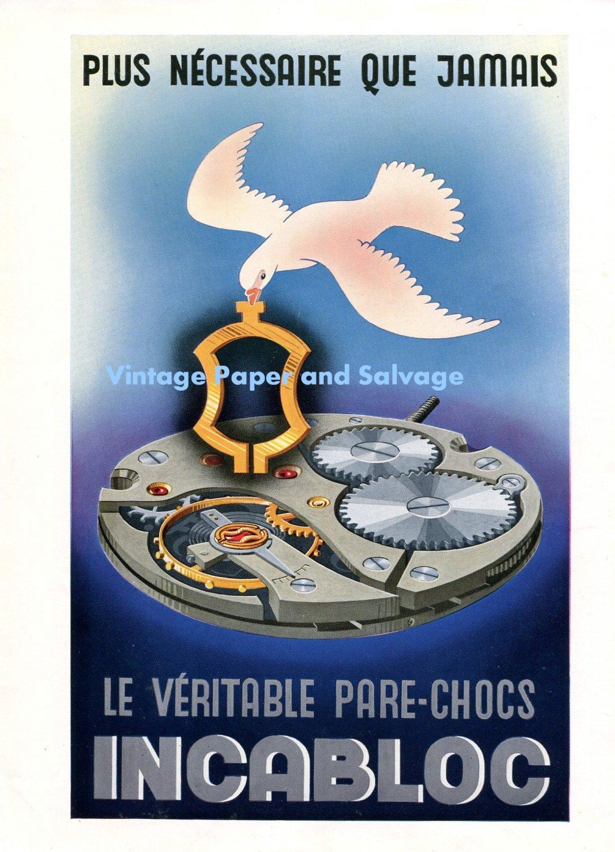 1948 Incabloc Plus Necessaire Que Jamais 1940s Swiss Print Ad Advert Publicite Suisse