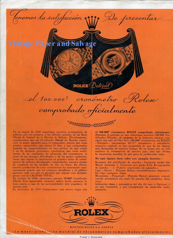 Vintage 1948 Rolex Watch Company 100,000th Chronometer Montres Rolex SA 1940s Swiss Ad Advert Suisse