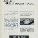 Vintage 1956 Audemars Piguet Watch Company A Statement of Policy Swiss Ad Publicite Suisse