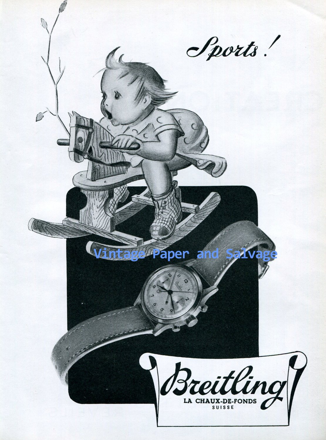 1945 Breitling Watch Company Breitling Sports Advert Vintage 1940s Swiss Ad Suisse Switzerland