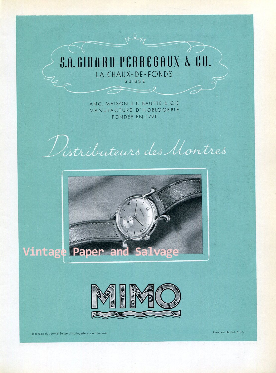 1945 Mimo Girard-Perregaux & Co Watch Company Switzerland 1940s Swiss Ad Advert Suisse Suiza