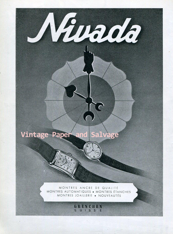Vintage 1945 Nivada Watch Company Grenchen Switzerland 1940s Swiss Ad Advert Suisse
