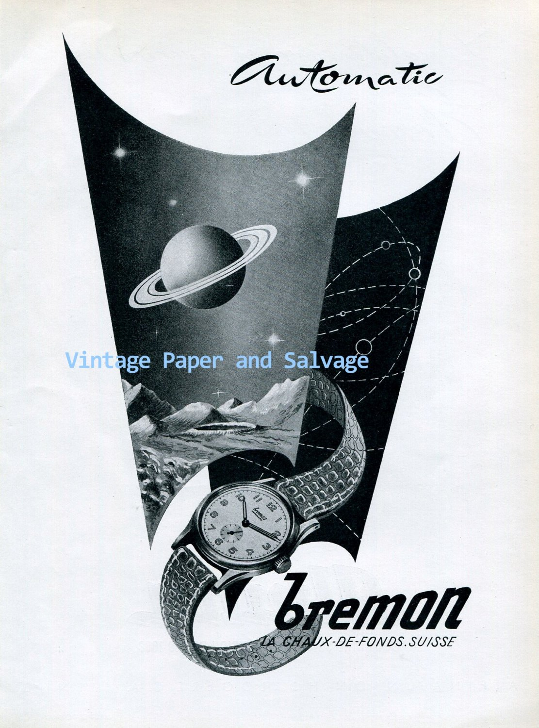 Vintage 1945 Bremon Automatic Watch Advert 1940s Swiss Ad Suisse Switzerland Schweiz