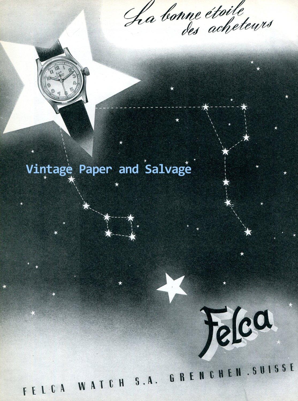Vintage 1945 Felca Watch Company Grenchen Switzerland 1940s Swiss Ad Advert Suisse Schweiz