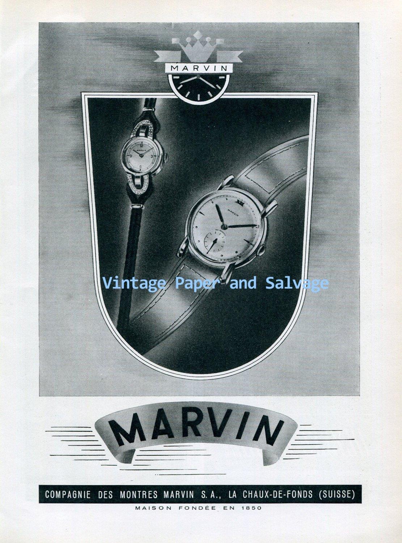 Vintage 1945 Marvin Watch Company Switzerland 1940s Swiss Ad Advert Publicite Suisse