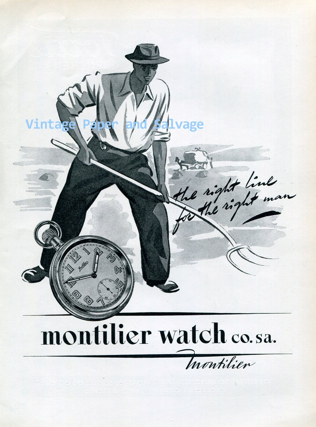 Vintage 1945 Montilier Watch Co. SA The Right Line for the Right Man Swiss Ad Advert Suisse