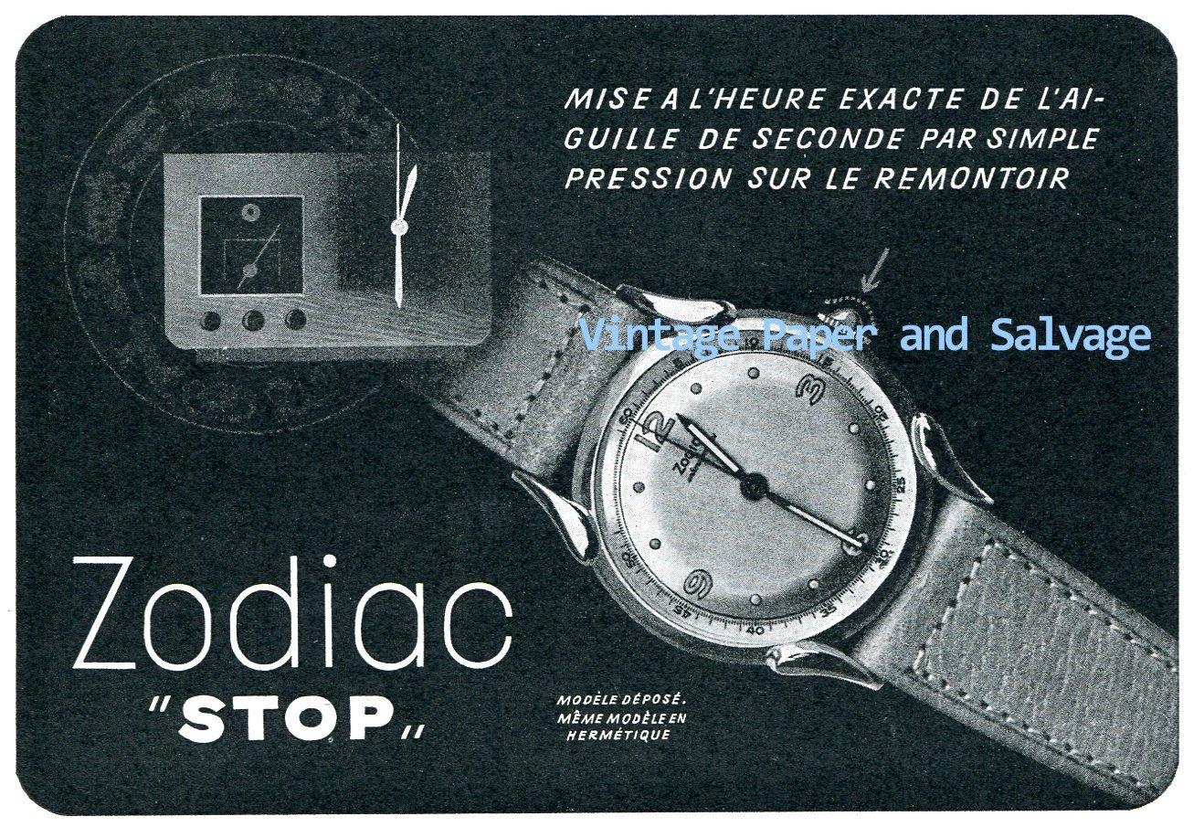 "Vintage 1945 Zodiac ""Stop"" Watch Advert 1940s Swiss Print Ad Publicite Suisse Switzerland"