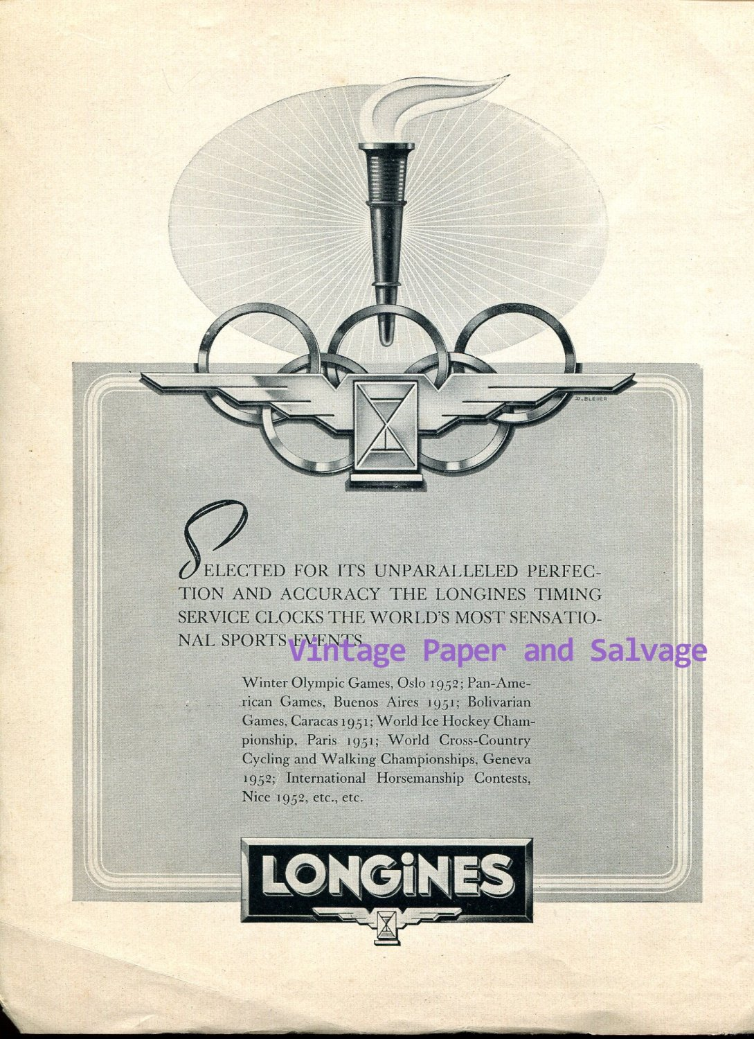 Vintage 1952 Longines Unparalleled Perfection and Accuracy Original 1950s Swiss Print Ad Suisse