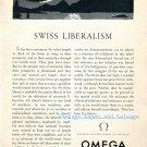 1952 Omega Watch Company Swiss Liberalism Vintage 1950s Swiss Print Ad Suisse Switzerland