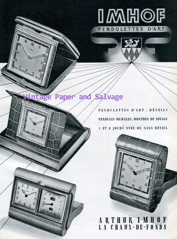 Vintage 1945 Arthur Imhof Pendulettes d'Art Clock Company 1940s Swiss Ad Advert Publicite Suisse