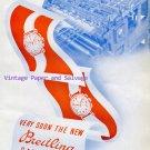 Vintage 1945 G-Leon Breitling SA Watch Company Original 1940s Swiss Ad Publicite Suisse