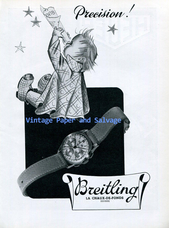 Original 1945 Breitling Precision Watch Advert Vintage 1940s Swiss Ad Advert Suisse