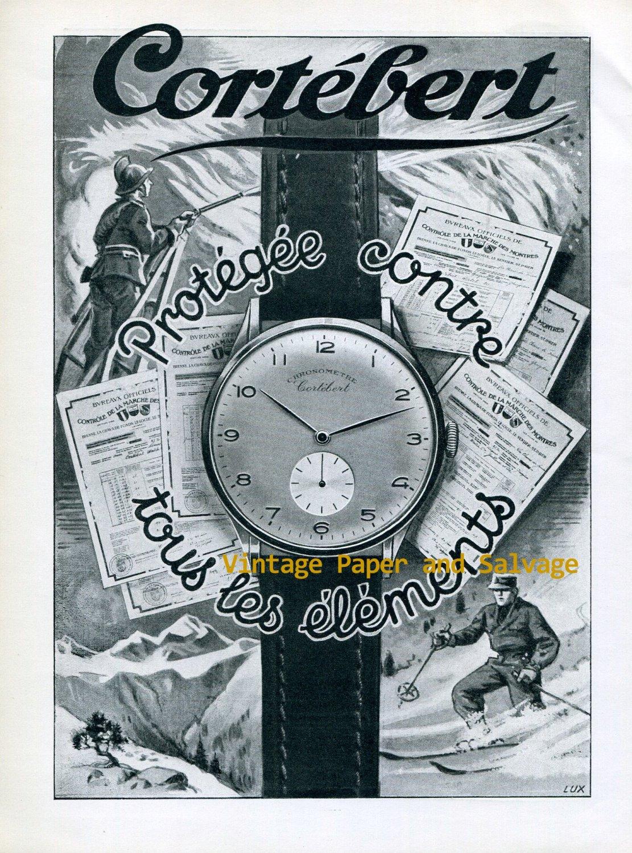 Vintage 1945 Cortebert Chronometre Watch Advert 1940s Swiss Print Ad Publicite Suisse