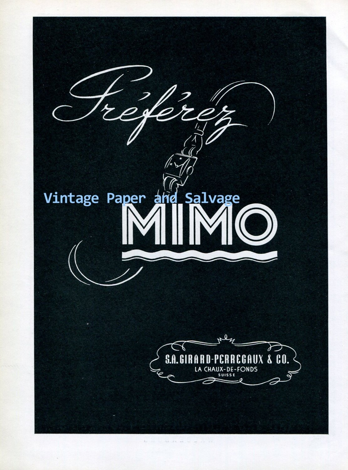 Vintage 1945 Mimo Girard-Perregaux & Co Watch Company Switzerland 1940s Swiss Ad Advert Suisse