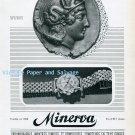 Vintage 1945 Minerva Watch Company Villeret Switzerland 1940s Swiss Ad Advert Suisse