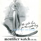 Vintage 1945 Montilier Watch Co. S.A. The Right Line for the Right Lady 1940s Swiss Ad Suisse