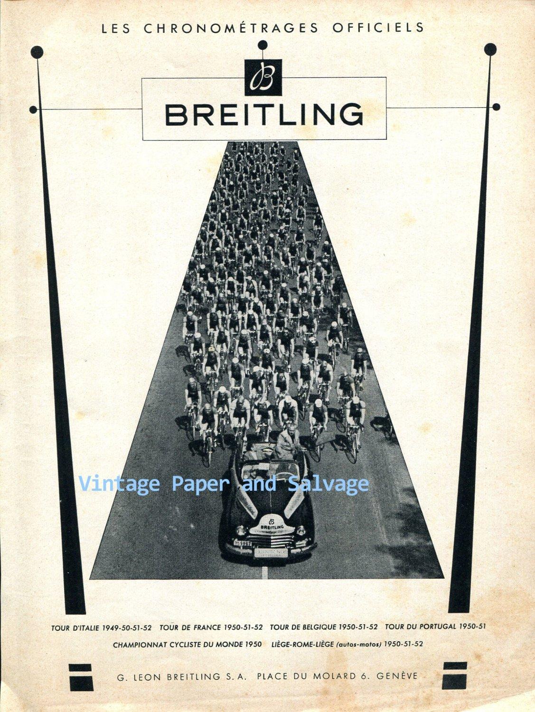 Vintage 1952 Breitling Geneve Les Chronometrages Officiels Cyclist Races Racing Swiss Ad Suisse